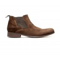 Boots à élastique en veau velours marron