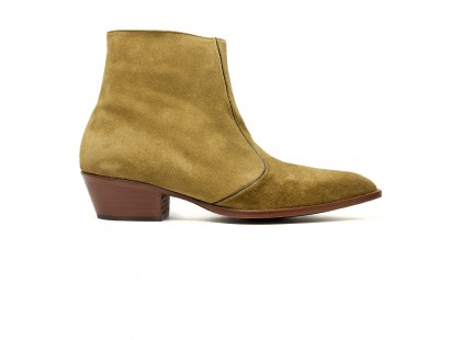 kaki suede leather zip boot