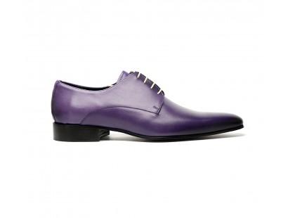 Derby lisse en cuir violet