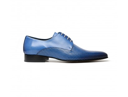 Derby perforé en cuir bleu patiné