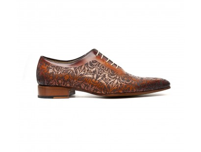 One cut oxford arbesque laser brown patinated shoes