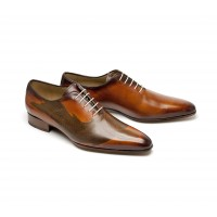 koï tattoed calf one cut oxford with a camel patina