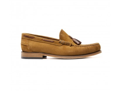 Mocassin cuir velours sable