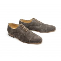 Grey suede straight cap toe oxford