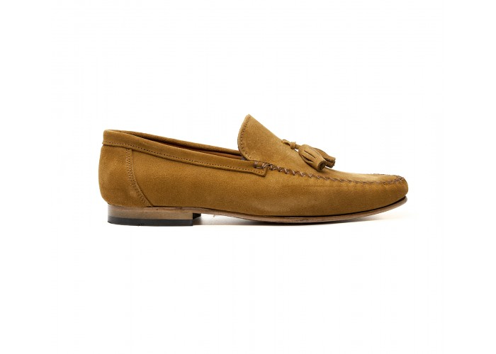 camel suede loafer with tassels