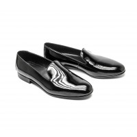 black patent leather slippers