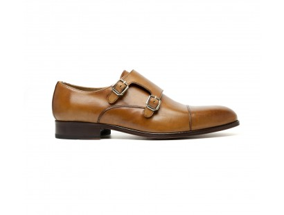 Double monk in whisky calf leather