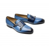 Blue crocodile monk loafer