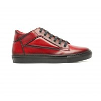 sneakers mid high en veau rouge patiné