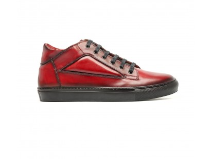 mid high sneakers in red calf