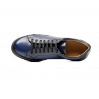 sneakers en veau patiné bleu