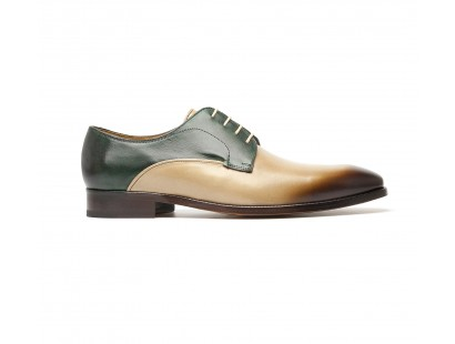smooth derby two-tone green and taupe