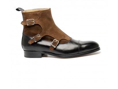 Triple bimaterial buckle balmoral boot