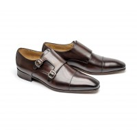 Dark brown double monk with a straight toe cap