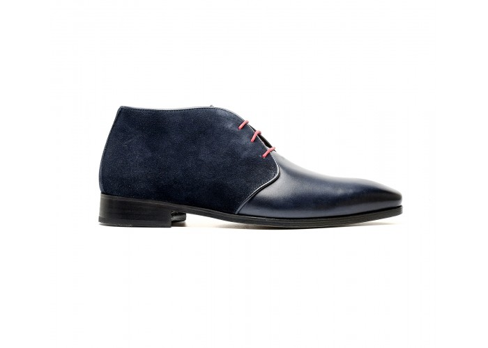 Blue calf and suede chukka