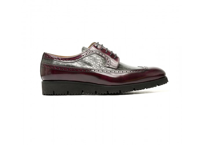 patent croco style leather on brogues