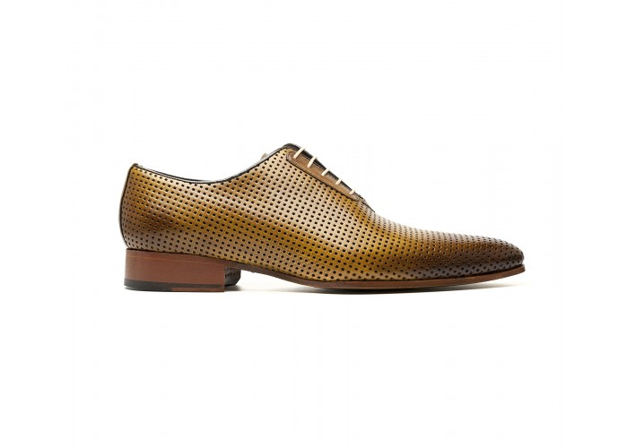 """Perforated """"tabacco"""" calf oxford"""