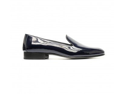 Navy blue patented calf loafers