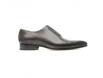 "Perforated ""gris"" calf oxford"