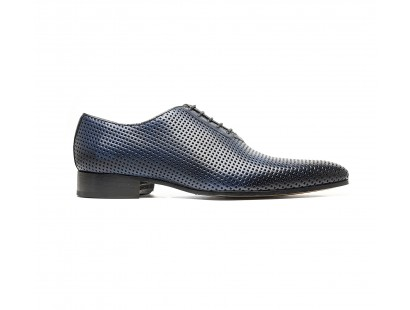 "Perforated ""blue"" calf oxford"