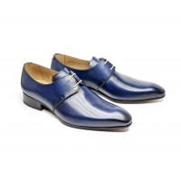 Derby in blue patinated calf leather