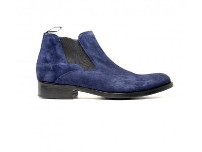Boots à élastique en veau velours bleu
