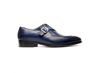 Blue calf buckle oxfords