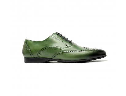 full btogue oxford in green calf leather - rubber sole