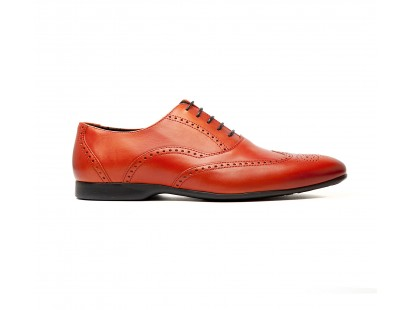 full brogue oxford in orange calf leather - rubber sole