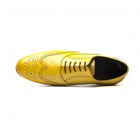 full brogue oxford in yellow calf leather - rubber sole
