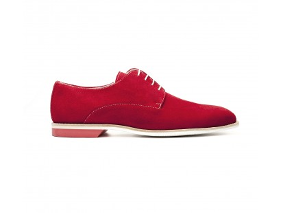 "red ""suede"" derby white rubber sole"