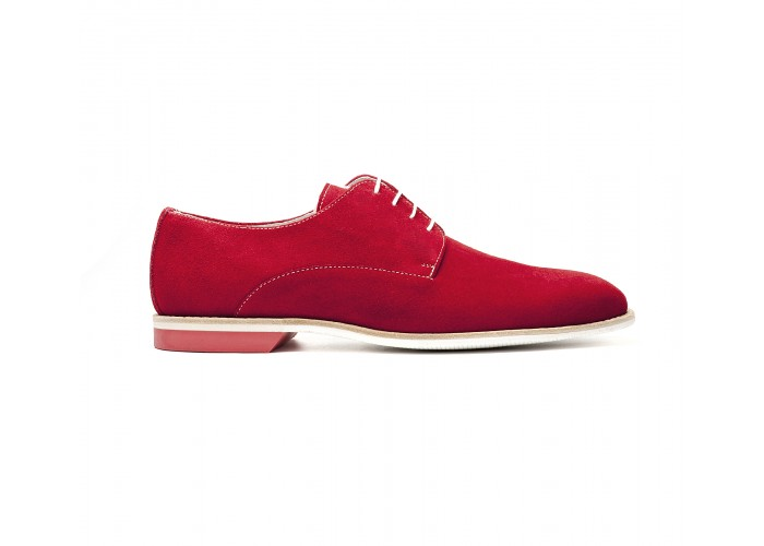 """red """"suede"""" derby white rubber sole"""