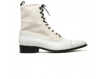 """balmoral boot in linen and crust leather """"ready to patina"""""""
