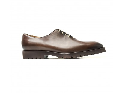 brown one cut oxfords with commando rubber soles