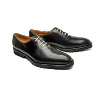 "Black calf one cut oxfords with rubber ""commando"" soles"