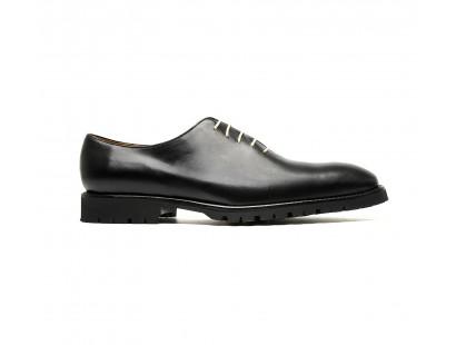 "Black calf one cut oxfords with rubber ""commando"" soles"