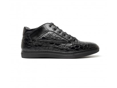 "black ""croco"" leather mid-high sneakers"