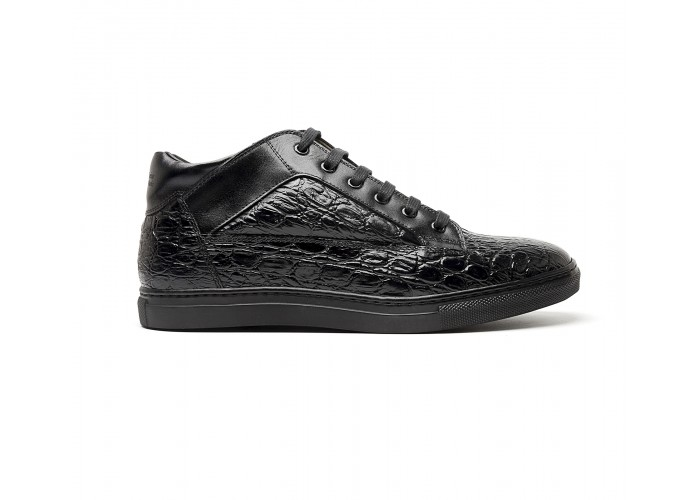 """black """"croco"""" leather mid-high sneakers"""