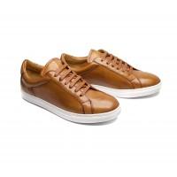 sneakers en cuir cognac