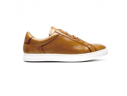 cognac leather sneakers