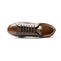 dark brown leather sneakers