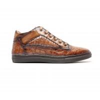 """sneakers mid-high en cuir façon """"croco"""" marron"""