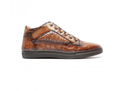 "brown ""croco"" leather mid-high sneakers"