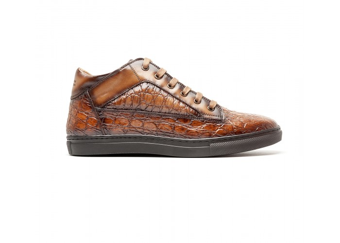 """brown """"croco"""" leather mid-high sneakers"""