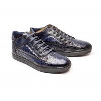 """sneakers mid-high en cuir façon """"croco"""" noir"""