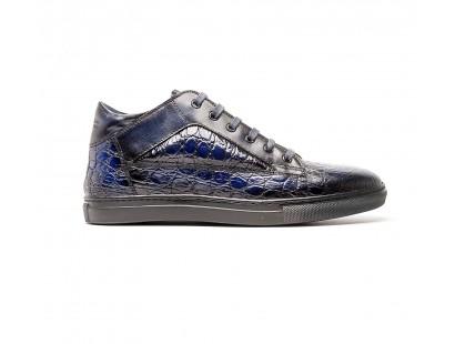 """sneakers mid-high en cuir façon """"croco"""" bleu"""