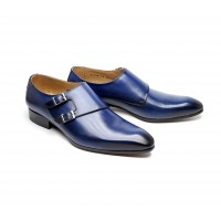 double monk in blue calf