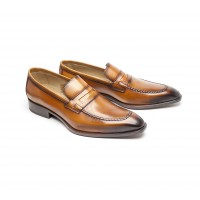 Camel calf loafer with simulated platform