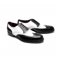 Spectator oxfords in white and black calf