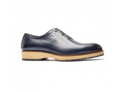 "One cut richelieu ""BIG SOLE"" en veau Bleu"